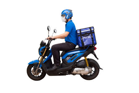 Photo pour Delivery man wearing blue uniform riding motorcycle and delivery box. Motorbike delivering food or parcel express service isolated on white background - image libre de droit