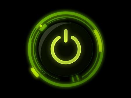 Photo pour Power button on green light - image libre de droit