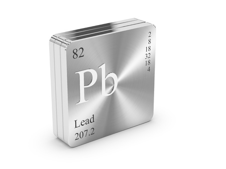 Lead - element of the periodic table on metal steel block