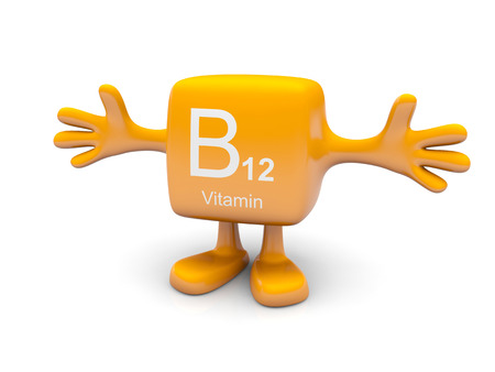 B 12 vitamin symbol on yellow figure