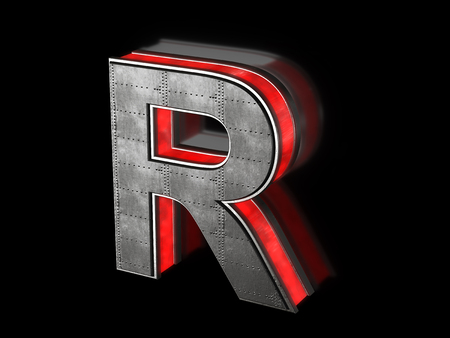 Futuristic letter R - black metallic extruded letter with red light outline glowing in the dark