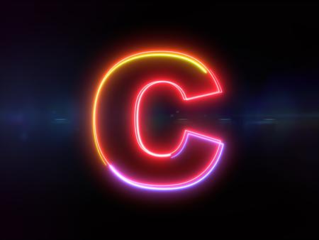 Foto de Letter C - colorful glowing outline alphabet symbol on blue lens flare dark background - Imagen libre de derechos