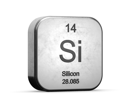 Photo pour Silicon element from the periodic table. Metallic icon 3D rendered on white background - image libre de droit