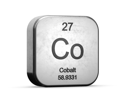 Photo pour Cobalt element from the periodic table series. Metallic icon set 3D rendered on white background - image libre de droit