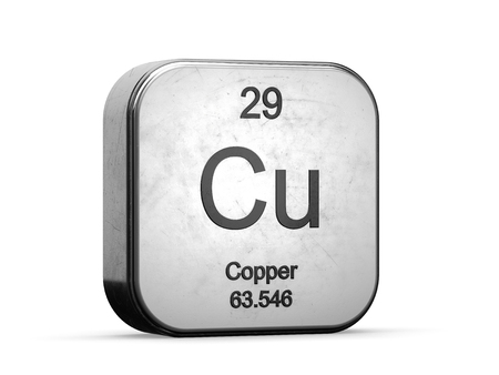 Photo pour Copper element from the periodic table series. Metallic icon set 3D rendered on white background - image libre de droit