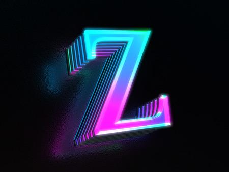 Foto de Beautiful colored glass letter Z glowing in the dark - Imagen libre de derechos