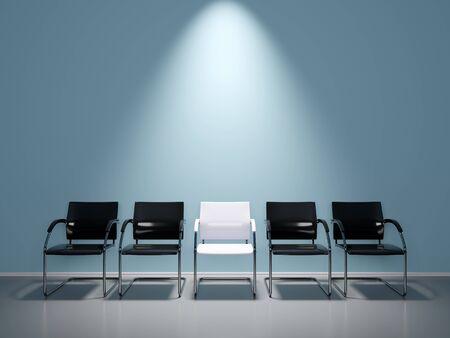 Photo pour Soft blue waiting room with nice light spot on wall - image libre de droit