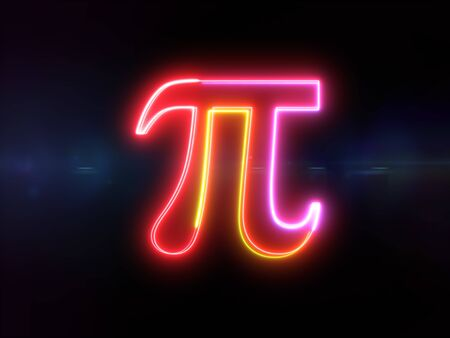 Pi symbol - colorful glowing outline greek alphabet symbol on blue lens flare dark background