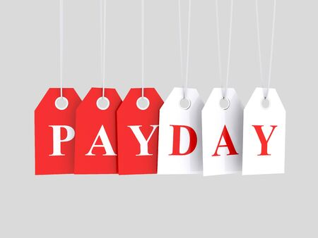 Pay day word text on red hanging etiquette