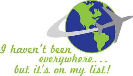 Jet plane circling the globe.