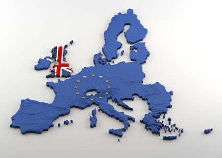 Photo for Extruded political Map of European Union and United Kingdom with relief after anticipated Brexit. Textures made of Union Jack and EU flags (with gold stars incrusted in EU 3D shape) on a white background. - Royalty Free Image