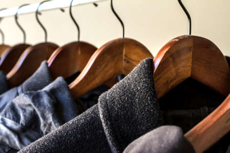 Photo pour Winter clothes hanged on a clothes rack - image libre de droit