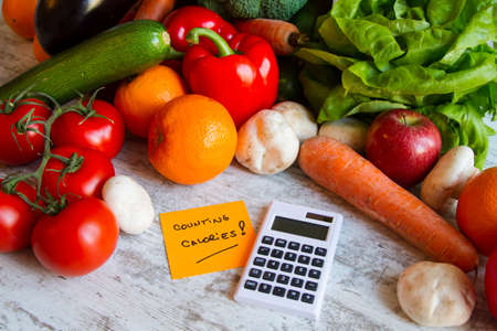 Counting calories, diet of  vegetables and fruits