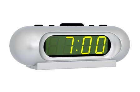 Desktop electronic clock isolated on white background