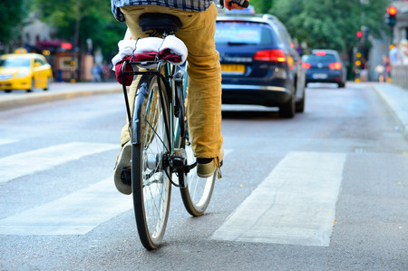 Rear view of bicyclist
