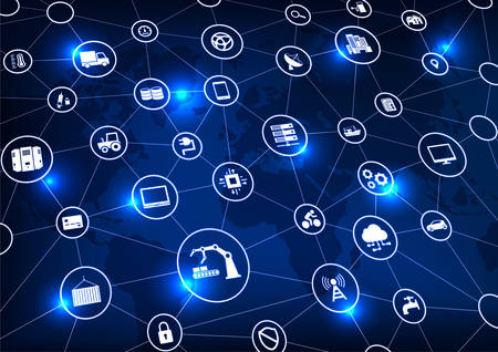 Illustration pour Industry 4.0, Internet of things (IoT) and networking, network connections - image libre de droit