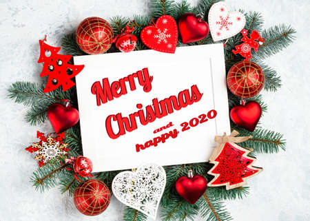 Photo for flat lay christmas inscription merry christmas red colors - Royalty Free Image