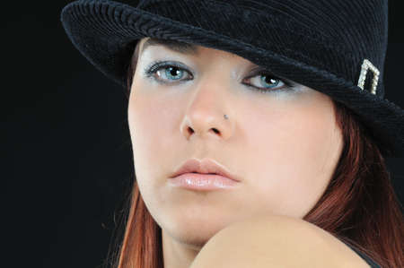 beautiful girl in black hat