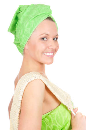 pretty smile girl with facecloth