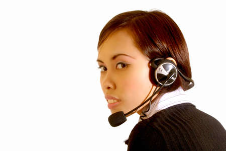Young woman at the customer support