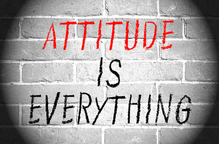 Attitude is everything words on brick wall