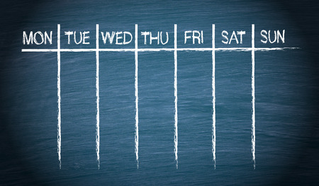 Photo for Weekly Calendar on blue Chalkboard - Royalty Free Image
