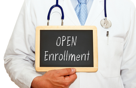 Open Enrollment - Doctor with chalkboard