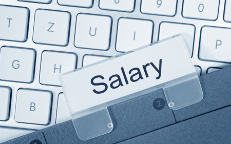 Salary - folder on computer keyboard