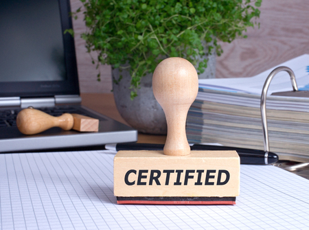Certified - rubber stamp in the office