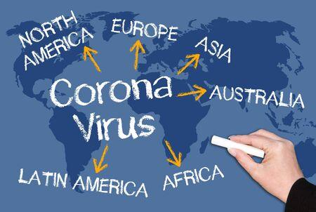 Photo pour Coronavirus concept on blue world map background, global viral disease, pandemic outbreak - image libre de droit