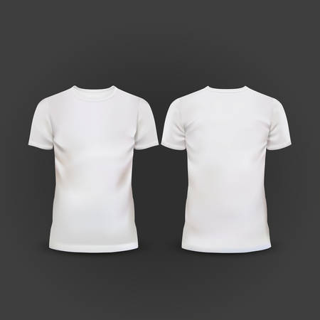 white T-shirt template isolated on black background