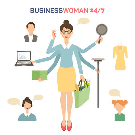 Businesswoman with many hands multitasking design concept flat vector illustration