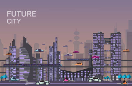 Illustration pour Website hero images in flat design style for web development purposes. Busy urban cityscape templates with modern buildings, roads, futuristic traffic and park trees. - image libre de droit