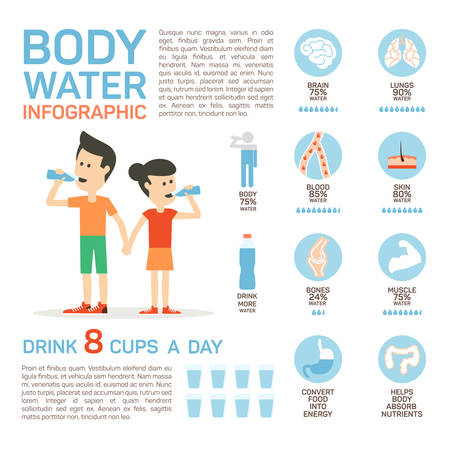 Illustration for Vector flat style of body water infographic concept. Concept of drinking water, healthy lifestyle. Bottle brain body lungs bones blood skin muscle stomach. - Royalty Free Image