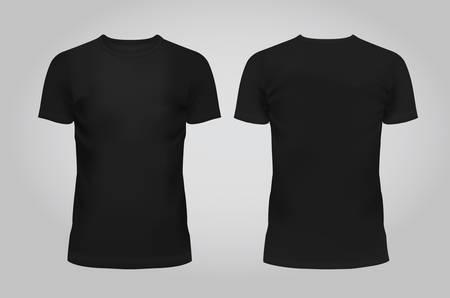 Illustration pour Vector illustration of design template black men T-shirt, front and back isolated on a light background. Contains gradient mesh elements. - image libre de droit