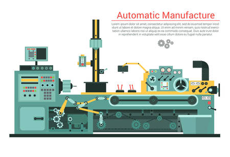 Illustration pour Vector flat illustration of complex engineering machine with pump, pipe, cable, cog wheel, transformation, rotating details. Industrial mechanical revolution of manufacturing equipment. - image libre de droit