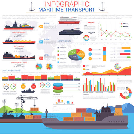 Illustration pour Maritime or nautical transportation infographic template. Ships with cargo or goods shipping containers to sea or ocean port or harbour visualization with linear and circle, bar charts - image libre de droit