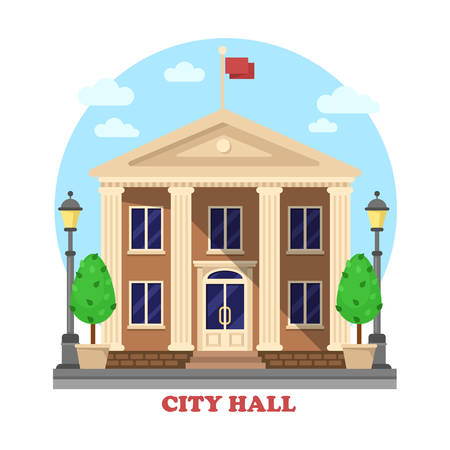 Illustration for City hall architecture facade of building exterior with flag on top and bushes near entrance with steps, lanterns or lamps on sides of townhouse or mayor, parliament house - Royalty Free Image
