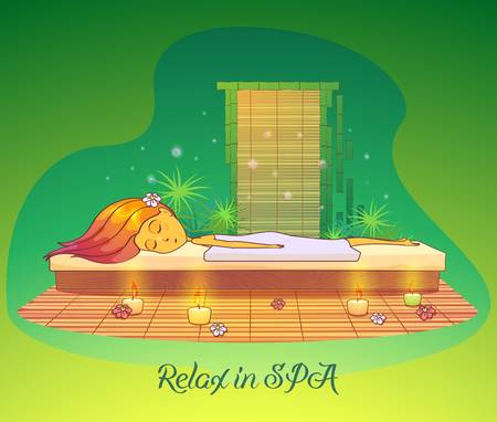 Girl or woman relaxing or lying at spa salon or sauna. Beauty salon or parlor, cabinet with woman or girl sleeping. May be used for spa salon or beauty salon logo for young woman and girl