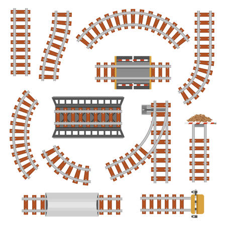 Rail or railroad, railway top view. Train transportation track made of steel and wood, rail wavy or curvy, straight connections.Locomotive railroad or path, railway, rail top view. Train station theme