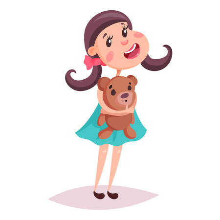 Young or small girl with teddy bear. Kid or baby with fluffy toy. Cartoon child or schoolgirl, schoolkid with blushing and pigtails in skirt playing with toy. Childhood and people, joy and happy theme