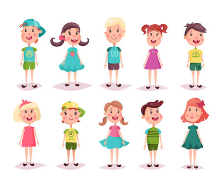 Young kids or set of isolated happy children. Little boy and small girl, Cartoon preschool people, smiling pupil with flush or blush on face and pigtail hair wearing short and skirt or dress.Childhood