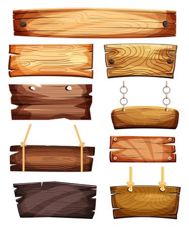 Illustration pour Vintage empty or blank wooden signboards - image libre de droit