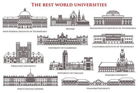 Illustration pour Set of isolated university and institute, college - image libre de droit