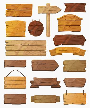 Ilustración de Set of isolated pointers signs or wooden planks. - Imagen libre de derechos