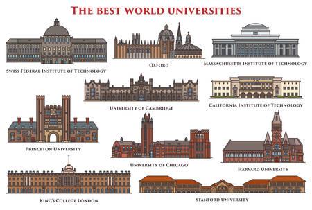 Illustration pour Set of isolated buildings and university. - image libre de droit