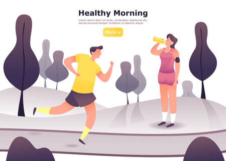 Ilustración de Jogging man at moorings park and woman in headphones after running. People at cardio exercise, male and female at run or vitality training. Sport and healthy lifestyle,aerobics theme.Sport club banner - Imagen libre de derechos