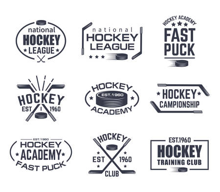 Illustration for Set of isolated hockey logo with stick and puck. Vintage signs with stars for winter sport. Tournament or training club emblem, national league sign. Branding for clothing or game advertising theme - Royalty Free Image