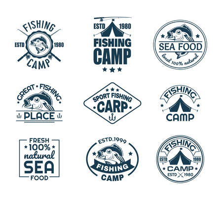 Illustration pour Set of isolated sport fishing logo. Fish on fisherman club logo. Fishing camp emblem with carp and hook, rods and tent. Icon for natural sea food. Catch and hobby, underwater wildlife, nautical theme - image libre de droit