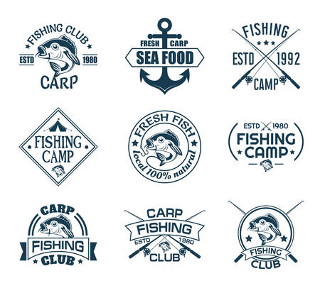 Illustration pour Set of isolated icons with fish for fisherman club. Sport fishing emblem or angler recreation sign. Anchor and carp, rods and hook on nautical logo. Underwater and nautical, sea and river catch theme - image libre de droit